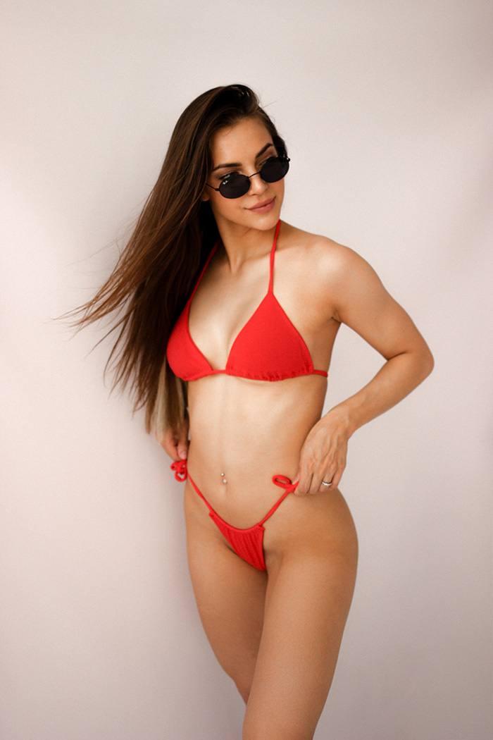 Раздельный купальник с чашечками Perfect Female Шторки Bikini  Красный 156SW-21BI-r