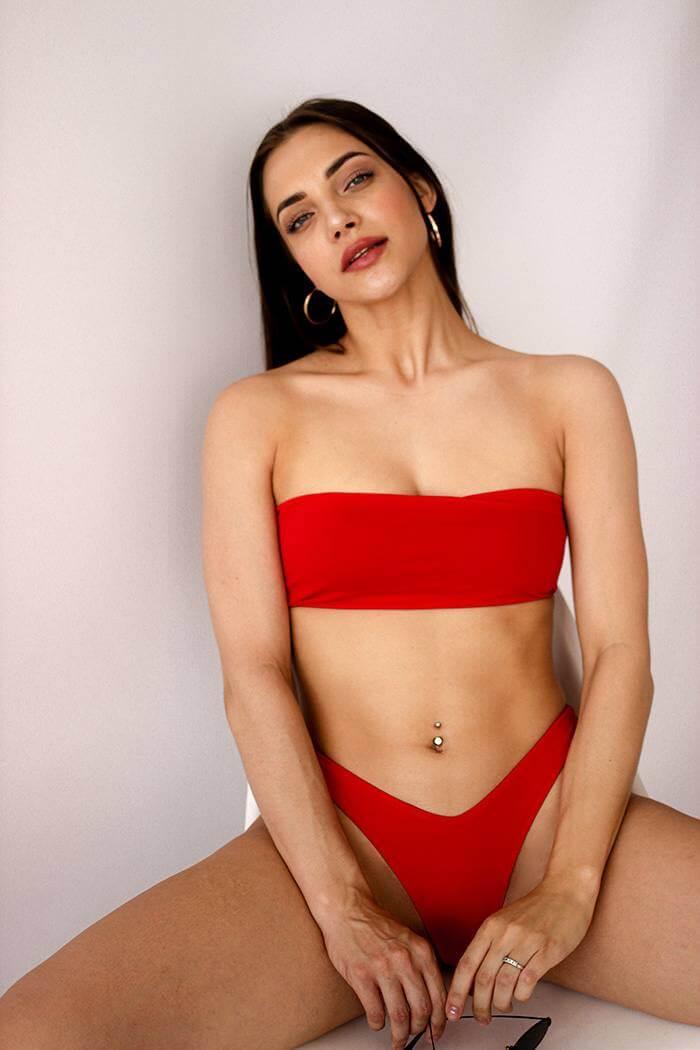 Раздельный купальник бандо с чашечками Perfect Female Bando  Красный 152SW-21BR-r